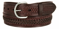 "2283 Western Basketweave and X Pattern Genuine Leather Belt - 1 1/2"" wide BROWN"