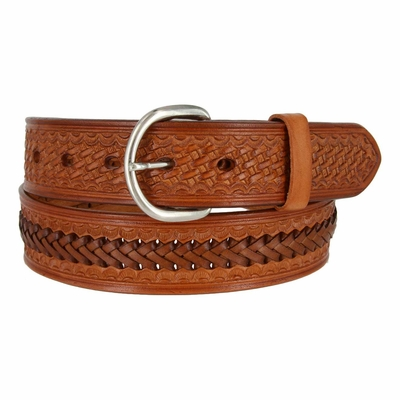 "2283 Western Basketweave and X Pattern Genuine Leather Belt - 1 1/2"" wide TAN"