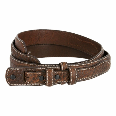 2283 Western Ranger Genuine Leather Bison Belt Strap - BROWN