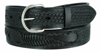 "2285 Western Scorpion X Hand Woven Genuine Leather Belt - 1 1/2"" Wide - BLACK"