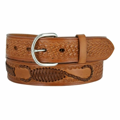 "2285 Western Scorpion X Hand Woven Genuine Leather Belt 1-1/2"" Wide- TAN"