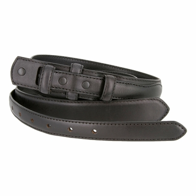 "2286 Genuine Leather Ranger Belt Strap 1-1/8"" tapering to 3/4"" wide - BLACK"