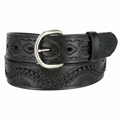"2286 Western Tooled Hand Lace Full Grain Leather Belt - 1 1/2"" wide BLACK"