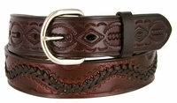 "2286 Western Tooled Hand Lace Full Grain Leather Belt - 1 1/2"" wide BROWN"