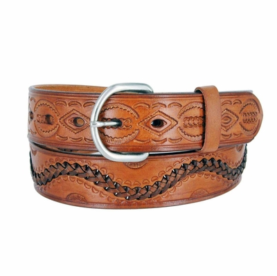 "2286 Western Tooled Hand Lace Full Grain Leather Belt - 1 1/2"" wide TAN"