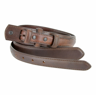 "2287 Genuine Leather Ranger Belt Strap 1-1/8"" tapering to 3/4"" wide - BROWN"