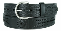 "2287 Western Tooled Braided Full Grain Leather Belt - 1 1/2"" wide BLACK"
