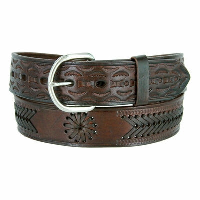 "2287 Western Tooled Braided Full Grain Leather Belt - 1 1/2"" wide - BROWN"