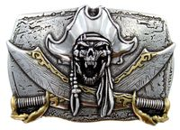 HA2334 Pirate Skull 3D  Belt Buckle