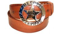 "2345 Deputy Marshall Full Grain Leather Casual Belt - 1 1/2"" wide"