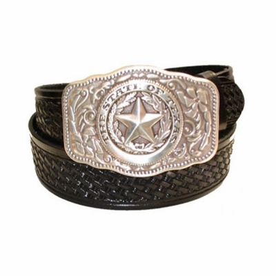 "2347 Basket-weave Full Grain Leather Belt - 1 1/2"" wide"