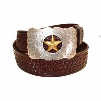 "2348 Basket-weave Full Grain Leather Belt - 1 1/2"" wide"