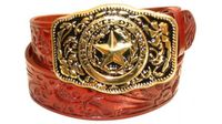"2349 Texas Floral tooled full grain leather belt - 1 1/2"" wide"