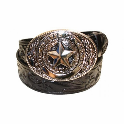 "2351 Texas Floral Full Grain Leather Belt - 1 1/2"" wide"