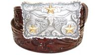 "2357 Floral Tooled Leather Belt - 1 1/2"" wide"