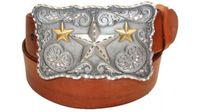 "2359 Stars Full Grain Leather Belt - 1 1/2"" wide"