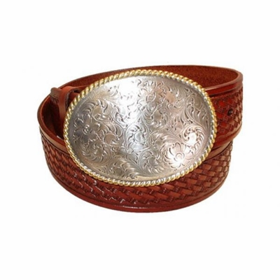 "2363 Round Basket-weave Full Grain Leather Belt - 1 1/2"" wide"