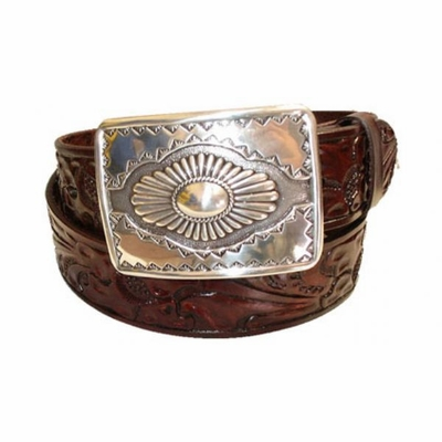 "2364 Floral Southwestern Full Grain Casual Leather Belt - 1 1/2"" wide"
