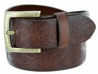 "2365 Western Engraved Buckle Full  Grain Leather Belt - 1 1/2"" Wide"