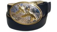 "2386 Ducks Full Grain Leather Belt - 1 1/2"" wide"