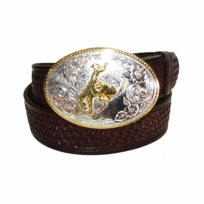 "2399 Rodeo Bronco Alpaca Basket-weave Full Grain Leather Belt - 1 /2"" wide"