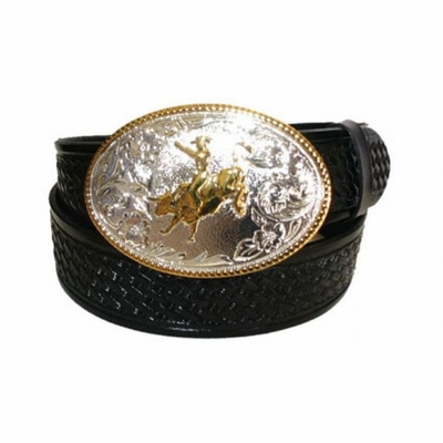 "2401 Rodeo Bull Alpaca Basket-weave Embossed Full Grain Leather Western Belt - 1 /2"" wide"