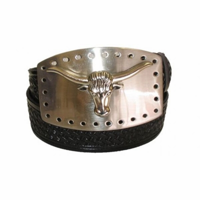 "2402 Longhorn Basket-weave Embossed Full Grain Leather Belt - 1 /2"" wide"