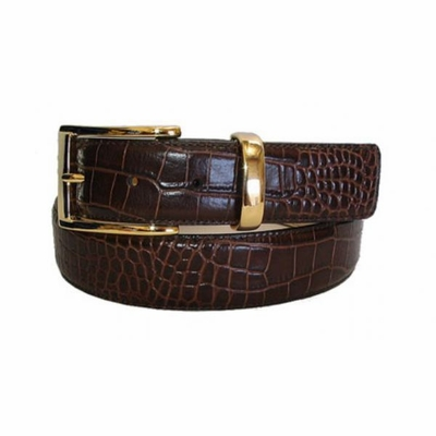 "2436 Italian Embossed Calfskin Leather Belt - 1 3/8"" wide"