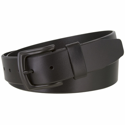 """2445 Casual Full Grain Feather Edge Leather Belt Black Buckle - 1 1/2"""" Wide - BLACK"""
