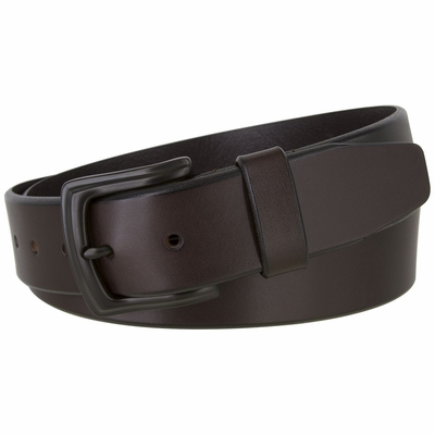 """2445 Casual Full Grain Feather Edge Leather Belt Black Buckle - 1 1/2"""" Wide - BROWN"""