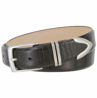 "2455 Italian Calfskin Embossed Leather Dress Belt - 1 3/8"" Wide"