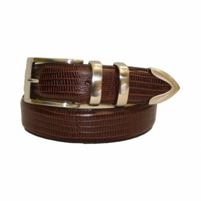 "2461 Lizard Embossed Calfskin Leather Belt - 1 3/8"" wide"