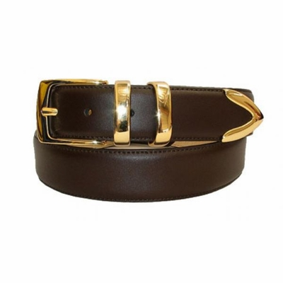 "2463 Italian Calfskin Leather Belt - 1 3/8"" wide"
