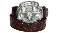 "2465 Western Floral Embossed Leather Belt - 1 1/2"" wide"