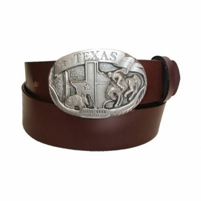 "2468 Texas Buckle Full Grain Leather Belt - 1 1/2"" wide - Available in size 60"""