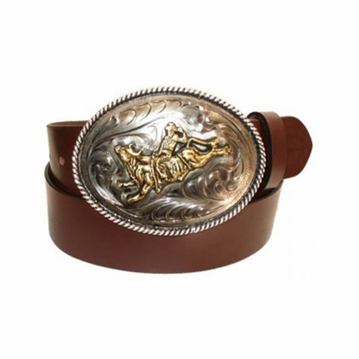 """2478 Western Trophy Buckle Full Grain Leather Belt - 1 1/2"""" wide - Available in size 60"""""""