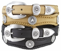 2501 Texas Seal Scallop Braided Western Belt - Available up to size 60""