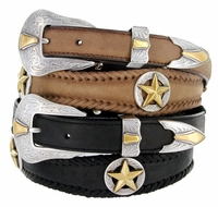 2506 Gold Star Conchos Western Leather Belt