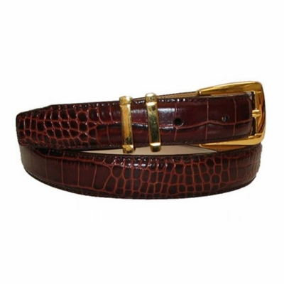 "2510 Embossed Leather Dress Belt - 1"" wide Cognac"