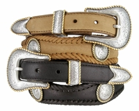 2519 Round Rope Edge Conchos Western Leather Belt