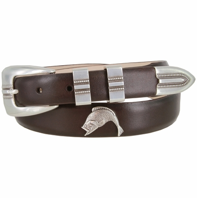 2527 Genuine Italian Calfskin Leather Dress Belt with Antique Silver Buckle Set and Fish Conchos