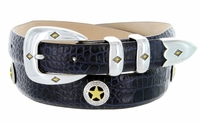 2529 Gold Star Italian Calfskin Leather Dress Golf Concho Belt