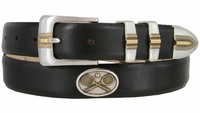 "2530 Genuine Calfskin Leather Golf Dress Belt with Vintage Tennis Conchos 1-1/8"" wide"