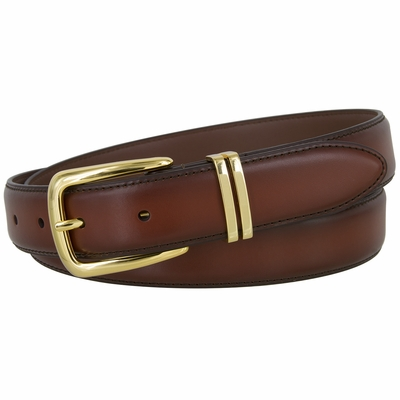 "2536 Smooth Burnish Edge Genuine Leather Dress Belt 1-1/8"" Wide - Tan"