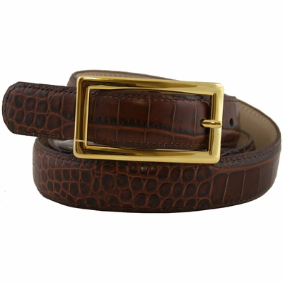 "2537 Women's Italian Calfskin Alligator Embossed Leather Dress Belt - 1"" Wide"
