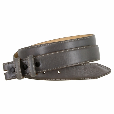 """2553 Smooth Genuine Leather Belt Strap 1 1/8"""" wide (30 MM) with Two Loops -  GRAY"""