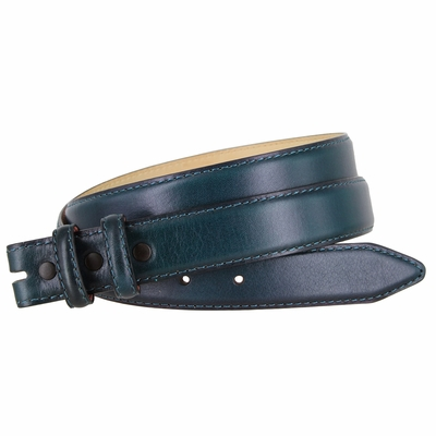 """2554 Smooth Genuine Leather Belt Strap 1 1/8"""" wide (30 MM) with Two Loops - NAVY"""