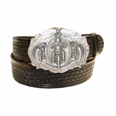 "2567 Ride Biker Full Grain Basket-weave embossed Leather Belt - 1 /2"" wide"