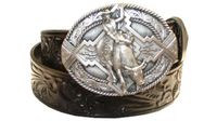 "2569 Floral Western Leather Belt - 1 1/2"" wide"