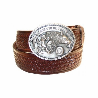 "2571 Biker Basket-weave Embossed Full grain Leather Belt - 1 1/2"" wide"